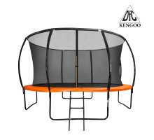 Батут DFC KENGOO II 14ft внутр.сетка, лестница, оранж/черн (427см)(два короба),    НОВИНКА