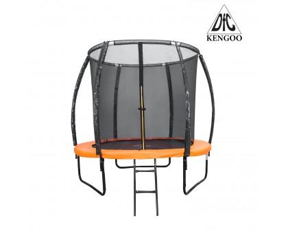Батут DFC KENGOO II 10ft внутр.сетка, лестница, оранж/черн (305см),    НОВИНКА
