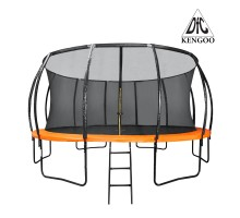 Батут DFC KENGOO II 16ft внутр.сетка, лестница, оранж/черн (488см)(два короба),    НОВИНКА